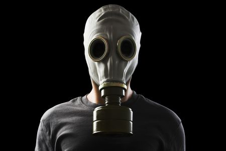 gas mask: man with gas mask