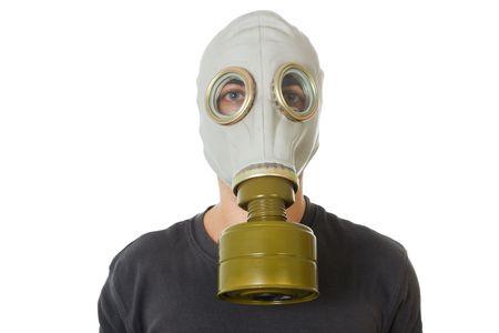 fetish wear: man wearing a gas mask studio isolated image Stock Photo