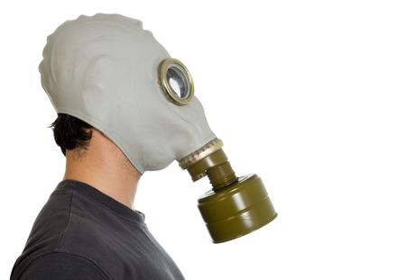 fetish wear: studio isolated imge of a man in gas mask side view Stock Photo