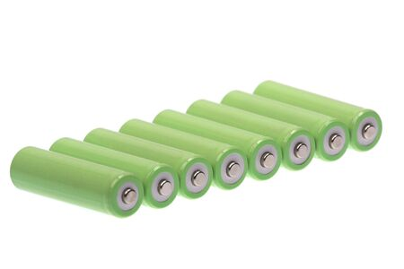 rechargeable: rechargeable AA batteries on white
