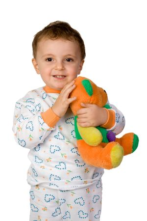 niño abrazando un osito de peluche Foto de archivo - 3774258