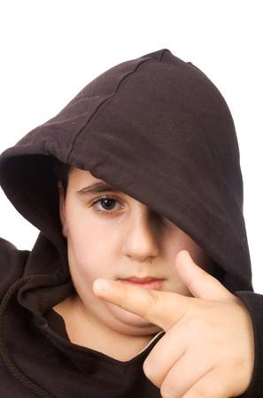 young boy wearing hood studio shot on white photo
