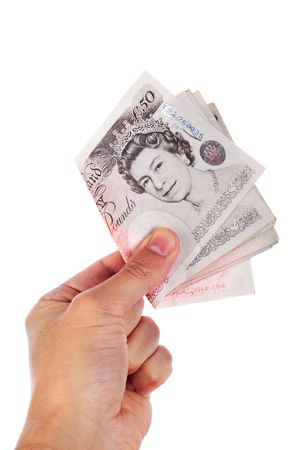 giving fifty  pounds notes Stock Photo - 5236917
