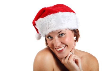 beautiful young woman looking happy in santa hat  Stock Photo - 5533634