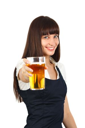 young woman holding a pint of beer and toatsting