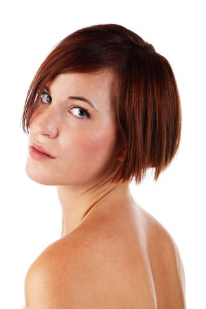short back: young attactive woman looking over shoulder studio shot on white Stock Photo