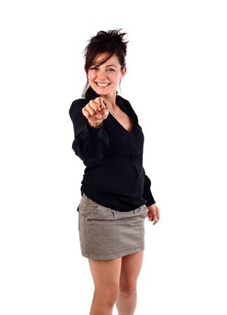 young businesswoman pointing her finger at camera studio shot on white photo
