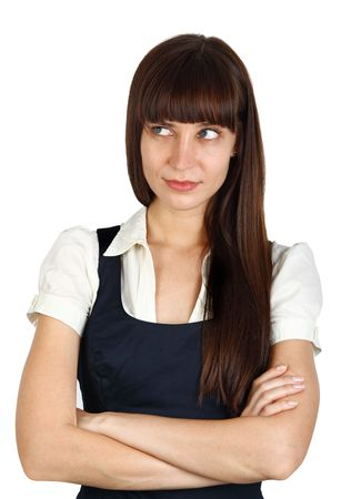 young businesswoman with suspicious  or inquisitive facial expression  photo