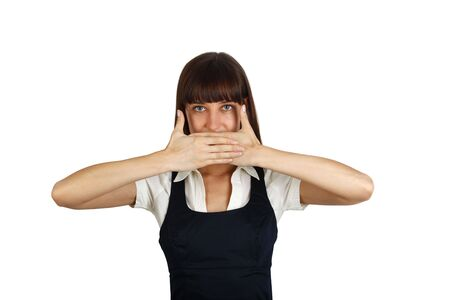 young businesswoman covering her mouth with hands  photo