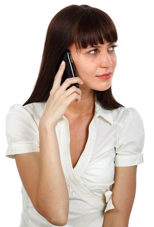 young beautiful businesswoman talking on the phone photo