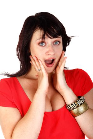 young beautiful  woman looking surprised  photo