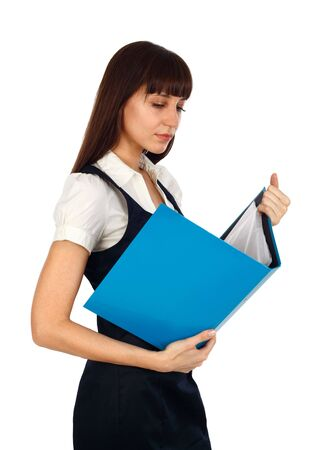young woman reading documents on a blue binder photo