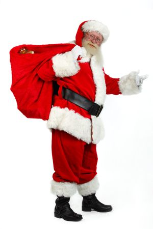 father chrismas carying presents in his sack
