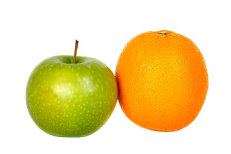 comparing apples to oranges isolated on white