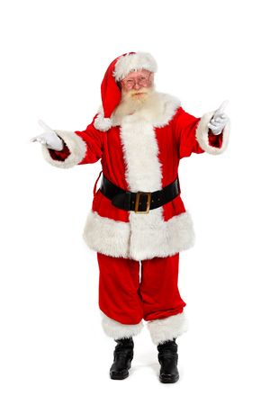 father christmas: father christmas gesturing full length portrait on plain on white background Stock Photo