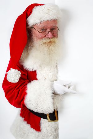 peep: father christmas pointing at banner on off white background