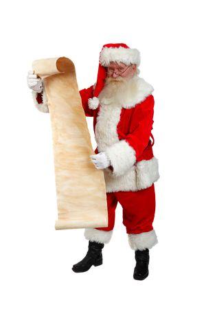 father christmas checking his list studio shot on white