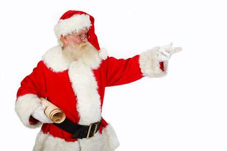 hombre con barba: Navidad de padre apuntando espacio de copia ideal para el estudio de texto aislado de tiro sobre blanco