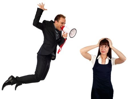 young busiensswoman shouting at businesswoman, isolated on white