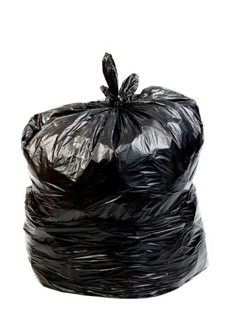 black plastic garbage bag: black plastic garbage  bag isolated on white Stock Photo