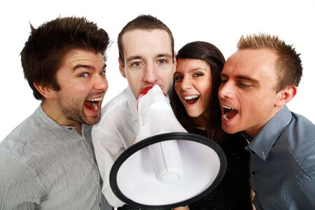 group of young people making announcement Stock Photo - 6453734