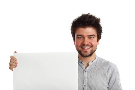 young attractive man holding a blank banner with a friendly smile Stock Photo - 6453730