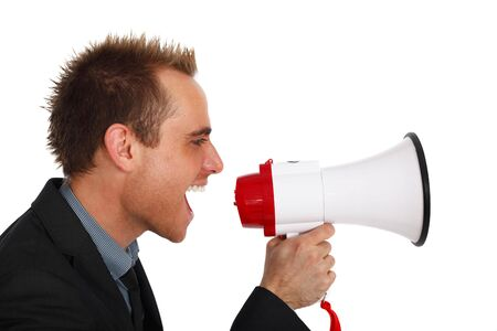 young businessman making an announcement with a megaphone photo