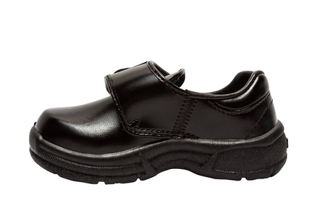 fashion  babies's wear: Shoes for children  Black shoes on a white background