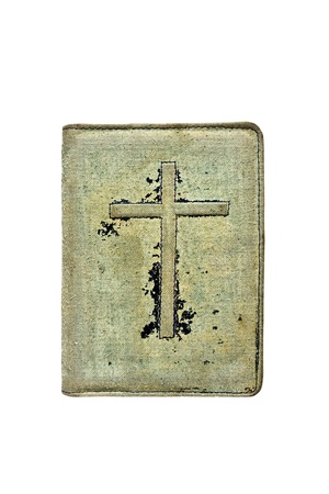 Old books cover on it a crucifix photo
