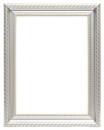 marcos decorados: Marco de plata aislado en el fondo blanco Foto de archivo