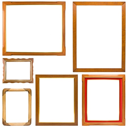 Set of wood frame isolate on white