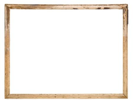 frame on wall: Vecchio telaio in legno isolato sul bianco Archivio Fotografico