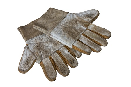 canvass: Old Dirty Work Gloves Isolated On White Background