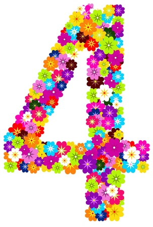 4, number flowers on white background  photo