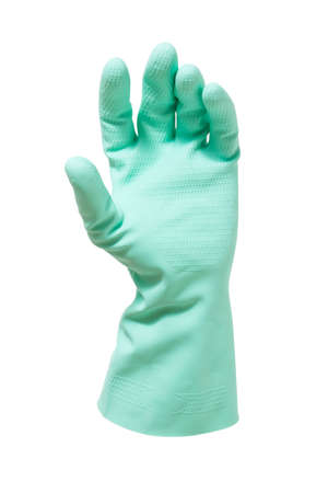 handbreadth: Human hand in a glove on white  Stock Photo