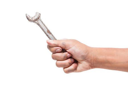 domestic garage: hand holding a fracture spanner isolated on a white background with using path