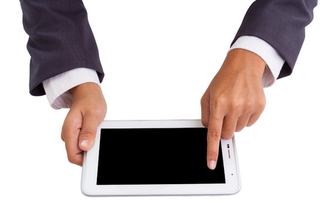Businessman hands holding and pointing on contemporary digital frame with blank screen   photo