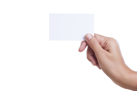 A female handing a blank business card, isolated on white background  with using path  photo