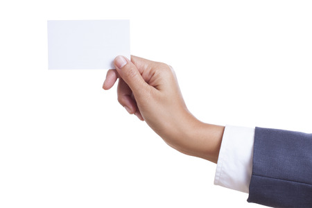 Businessman showing and handing a blank business card, isolated on white background  with using path  photo
