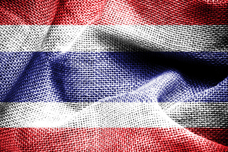 Texture of sackcloth with the image of the Thailand flag   photo