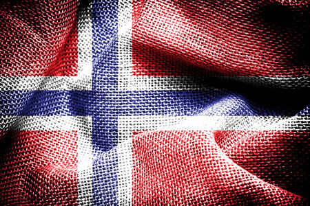 Texture of sackcloth with the image of the Norway Flag   photo