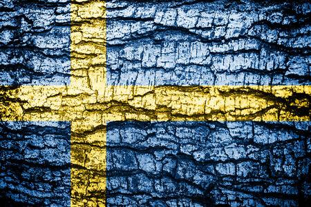 sweden flag wood texture  Stock Photo