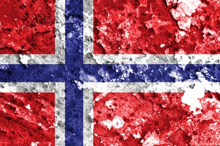 Norway flag painted on grunge wall  photo