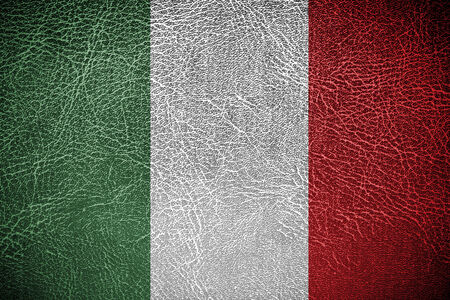 economic revival: Flag of Hungary banner on leather background  Stock Photo