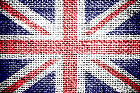 sackcloth: Texture of sackcloth with the image of the Union Jack   Stock Photo