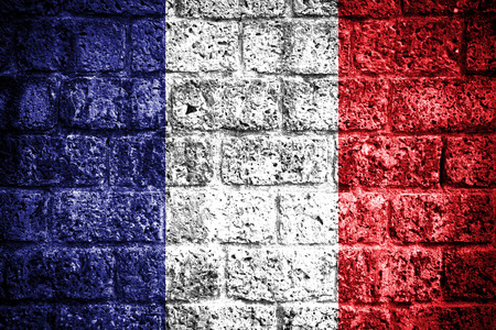 Flag of France painted onto a grunge brick wall  photo