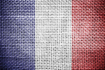 sackcloth: Texture of sackcloth with the image of France flag