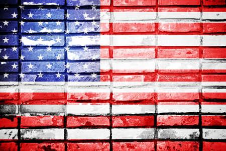 USA Flag on brick wall texture background  photo
