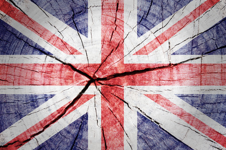 Union Jack Flag on wood background photo