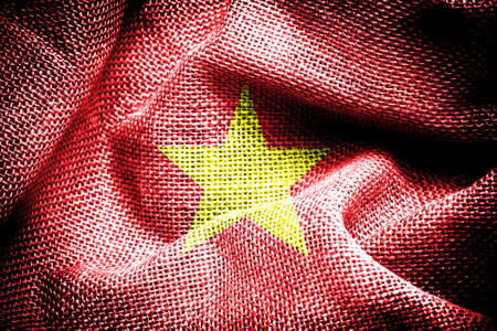 Texture of sackcloth with the image of the Vietnam flag  photo
